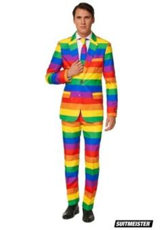 Add brightness to your special-event look this men's Suitmeister Rainbow suit and tie set. Traje Slim Fit, Pantalones Slim Fit, Rainbow Costumes, Traje Casual, Tall Pants, How To Look Handsome, Rainbow Pride, Tie Set, Suit And Tie