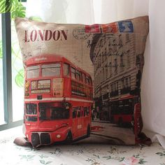 45x45cm UK London Street Red Bus Linen Pillow by SnowLittleShop, $16.00