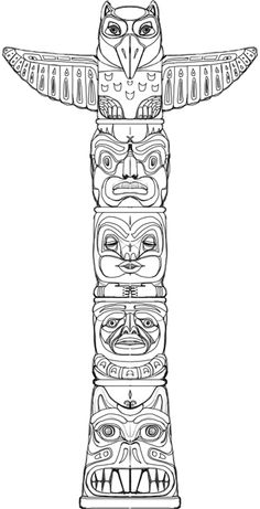 Totem (game puzzle) on BehanceYou can find Totem poles and more on our website.Totem (game puzzle) on Behance Totem Pole Drawing, Totem Pole Craft, Totem Pole Tattoo, Tiki Totem, Native American Totem Poles, Native American Symbols, Arte Haida, Haida Art, Totems