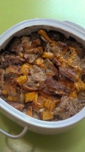 Mango Bread Pudding w Almond Extract - It tastes waaay better than it looks, and you can use any kind of fruit in the recipe!