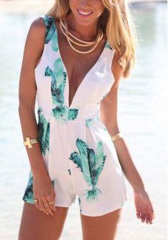 American Women Fashion Spring Sexy V-Neck Halter Straps Siamese Culottes Printing Short Dress Romper