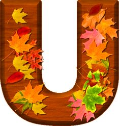 Presentation Alphabets: Cherry Wood Leaves Letter U Monogram Alphabet, Alphabet And Numbers, Fall Fest, Home Learning, Happy Fall Y'all, Preschool Crafts, Autumn Leaves, Presentation, Clip Art