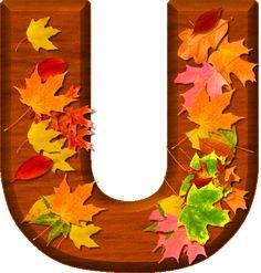 Presentation Alphabets: Cherry Wood Leaves Letter U Monogram Alphabet, Alphabet And Numbers, Fall Fest, Happy Fall Y'all, Preschool Crafts, Flower Patterns, Autumn Leaves, Presentation, Clip Art