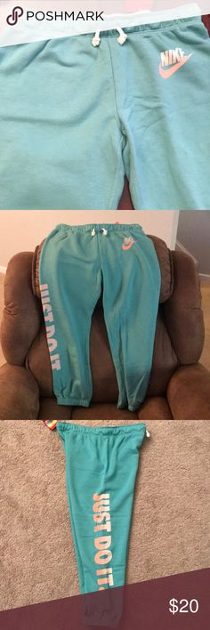 Nike Turquoise cropped joggers Never been worn Turquoise Nike joggers, lettering is in bright peach/white - Small Nike Pants Track Pants & Joggers