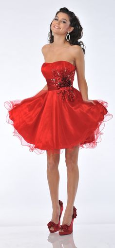 Red Prom Dress Strapless Flower Rhinestone Waist Short Tulle Dress $135.99