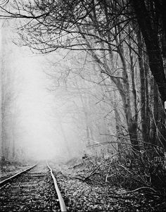 Railroad Tracks Fog Landscape Photography Black and White Sepia Rustic Country Decor Surreal Mysterious, Fine Art Print - Photography, Landscape photography, Photography tips Landscape Photography Tips, Digital Photography, Nature Photography, Mysterious Photography, Photography Lighting, Photography Backdrops, Aerial Photography, Photography Studios, Photography Jobs