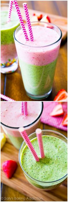 Super Power Smoothie by sallysbakingaddiction: A slim-down power smoothie recipe filled with super foods including spinach, strawberries, flax, and apple. Refreshing, nutrient packed, with nod added sugar #Smoothie #Healthy