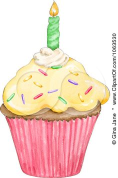 Clipart Birthday Cupcake And Candle - Royalty Free Hand Painted Illustration by Gina Jane