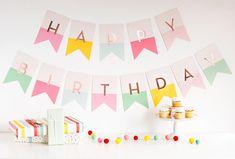 Happy Birthday Banner Girl Birthday Party Decor First