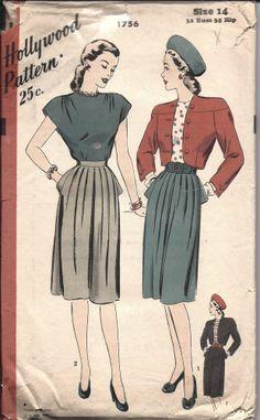 ^ Hollywood Pattern Vintage SEWING Misses 1940's Bolero Skirt Blouse 1756 14 OOP