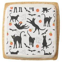 Friendly Black Cats Halloween Shortbread Cookies Square Sugar Cookie   #halloween   #cat  #cats