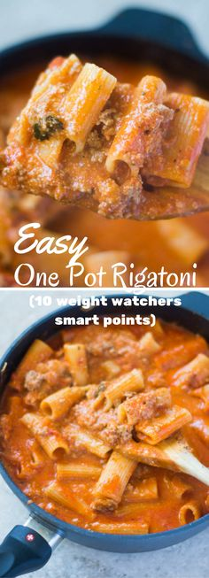 Easy low fat Weight Watchers rigatoni dish. One pot and you're done!
