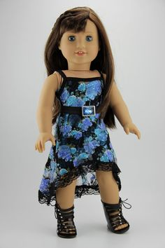 """American Girl doll clothes - High low strappy dress outfit (fits 18"""" doll) (419blu)"""
