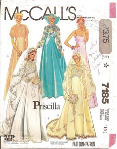 McCall's 7185 M7185 Retro Historical Costume Vintage Juniors Women's Misses' Prom Dress Evening Ball Gown Formal Wedding Bridal sewing pattern @TimeTravelStyle #timetravelcostumes
