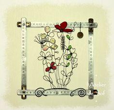 déco unique filde fer recuit et cadre original fleurs en fil fin et tissu Drawing, Creations, Unique, Art, Atelier, Originals, Sons, Flowers, Art Background