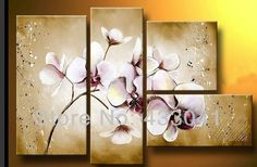 Handmade Modern Abstract Stone White Purple Orchid Flower Oil Painting On Canvas 4 Piece Set Wall Art Bedroom Decoration Online