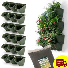 18 Macetas Triples Colgantes Jardin Vert + Compost + Envio