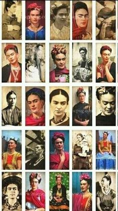 Frida Kahlo Portrait Domino Digital Collage Sheet by magicpug by michael Diego Rivera, Frida E Diego, Frida Art, Mexican Artists, Mexican Folk Art, Natalie Clifford Barney, Art Espagnole, Frida Kahlo Portraits, Kahlo Paintings