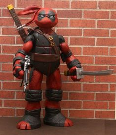 Teenage Mutant Ninja Turtle Deadpool custom action figure. I love the Ninja Turtles. I love Deadpool. This is awesome. #ninja #deadpool #TMNT