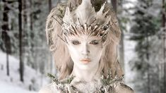 """""""Snow Queens"""": Close up of Taylor & Emily's snow queen, Evergreen. This makeup blew Ve away. It kind of looks like the tree is sprouting from underneath the snow, which is a really cool idea. Face Off Makeup, Sfx Makeup, Crazy Makeup, Costume Makeup, Makeup Art, Makeup Ideas, Larp, Aliens, Face Off Syfy"""