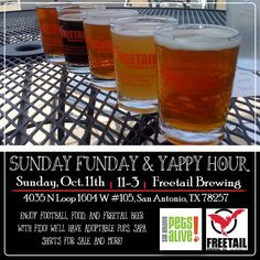 Do you enjoy football, food, Freetail beer, and/or fun with your furry friend(s)? If the answer is yes, join us at Freetail Brewpub - 1604 this Sunday for Yappy Hour from 11-3! We'll have adoptable pets and SAPA shirts for sale on their outdoor patio.