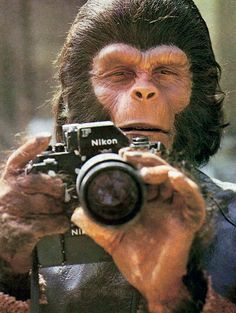 Roddie McDowall in Planet of the Apes (1968) with a Nikon F with a Photomic prism and motor-drive.