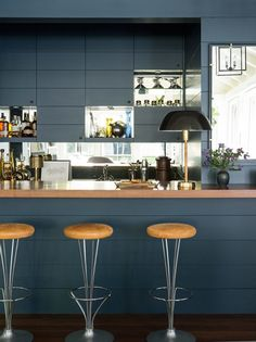 Dark Kitchen With Bar Stools