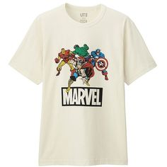 UNIQLO MARVEL Short Sleeve Graphic T-Shirt ($6.10) ❤ liked on Polyvore featuring men's fashion, men's clothing, men's shirts, men's t-shirts, mens short sleeve cotton shirts, mens cotton t shirts, mens cotton shirts, mens american flag t shirt and mens star wars t shirts