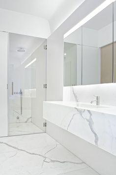 modern white marble bathroom