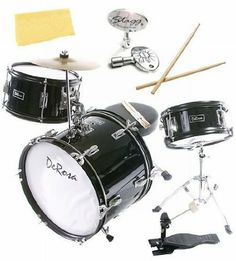 Bridgecraft 3-Piece 16-Inch Drum Set Bundle with Drum Key, Pro Drumsticks, and Polishing Cloth - Black by Bridgecraft. $129.95. Bundle includes Bridgecraft 3-Piece 16-Inch Drum Set with Stagg Drum Key, Professional-Quality Drum Sticks, and Polishing Cloth.This sturdy Bridgecraft DeRosa three-piece kid's drum set is sized just right for children 3 to 10 years old. Built to last, this durable drum set features real birch wood multi-ply shells, fully tunable top and bo...