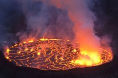 The world's largest lava lake on the Nyhiragongo volcano in the Democratic Republic of Congo