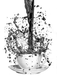 """Storm in a Coffee Cup"" by Paul Stowe. Pencil drawing on Paper, Subject: Still life, Photorealistic style, One of a kind artwork, Signed on the front, This artwork is sold unframed, Size: 24 x 32 x 0.2 cm (unframed), 9.45 x 12.6 x 0.08 in (unframed), Materials: pencil"