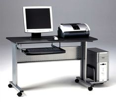 Work in comfort with the Mayline Mobile Computer Worktable Desk . This mobile unit features a slide-out keyboard drawer and side tower unit. Mobile Computer Desk, Computer Cart, Computer Desks For Home, Home Desk, Diy Office Desk, Office Furniture, Home Furniture, Mobiles, Portable Desk