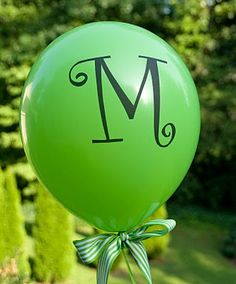 Life in Wonderland: DIY Monogrammed Balloons and love the ribbon at the base of balloon!