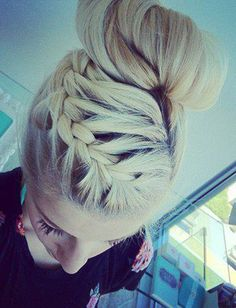 french braid to sock bun. God I wish I could do this. I wish I had even the HAIR to do this.