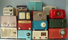 vintage transistor radios - 30s 40s and 50s. Some were Bakelite, some wood.