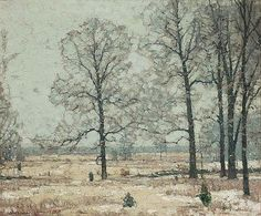 """""""Winter Hickories,"""" John F. Carlson, oil on canvas, 25 x 30"""", private collection."""