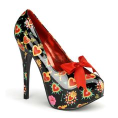 a26b8978f9 Vixen Sacred Heart Pin Up Shoes. Ultra high stiletto high heels with closed  toe front. Red bow on top.