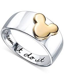 "Disney ""Dream It Do It"" Mickey Mouse Ring in Sterling Silver and 14k Gold-Plating"