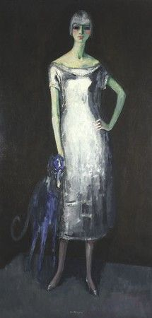 Kees van Dongen - Woman with a Blue Greyhound, 1919 Oil on Canvas signed bottom in the middle, titled on the back (1.93 z 0.96 m).