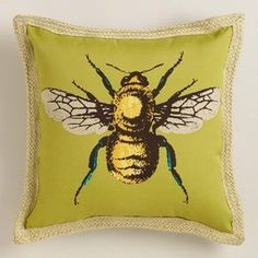 "$26.99 17"" Sq One of my favorite discoveries at WorldMarket.com: Bee Outdoor Throw Pillow"