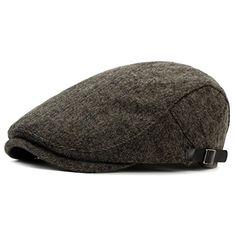 Idopy Men`s Tweed Wool Newsboy Flat Driver Hat Beret Ivy Irish Cap Black: Amazon.co.uk: Clothing