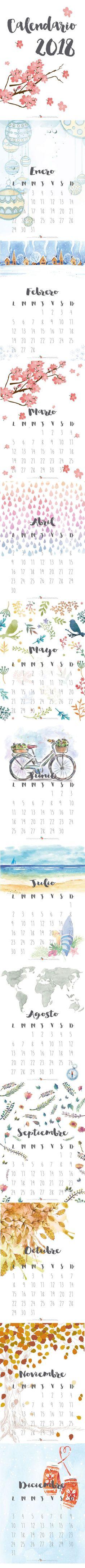 Descargable gratuito - Calendario 2018 - www.miamandarina.es