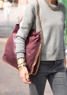 Burgundy Falabella Tote with Golden Chain and Single Handle