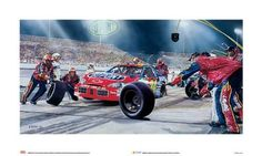 """NASCAR Print: DuPont Car Pit Stop Art by Legendary Sports Prints. $200.00. """"Dupont Car"""" is an unframed Fine Art Giclee on paper by artist Eric Soller. This NASCAR and team licensed image depicts the Dupont Car as seen from the pit stop. Through the use of vibrant colors, the artist makes it appear as though you are viewing the event live. The print unframed measures 40"""" x 20"""", Officially Licensed by NASCAR!"""