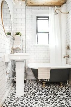 40 AWESOME BLACK AND WHITE TILE FLOOR IDEAS FOR BATHROOM
