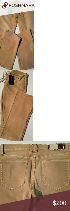 RALPH LAUREN WESTERN JEANS Very cool front, side and leg rawhide stitching. Distressed, camel color. Low rise. Unworn. Tag. Ralph Lauren Blue Label Pants Boot Cut & Flare