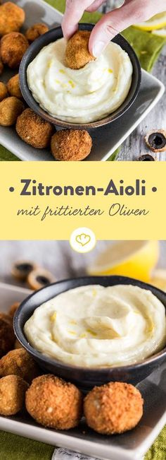 Lemon aioli with fried olives - - Tapas - Sauce recipes Juicer Recipes, Vegan Recipes, Pork Recipes, Blueberry Recipes, Party Snacks, Grilling Recipes, Finger Foods, Food Inspiration, Aioli