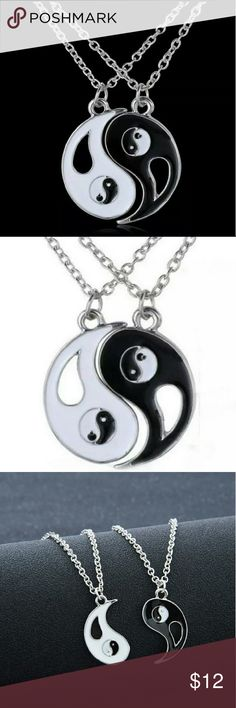 "*2 Pc Set!* Yin Yang BF GF BFF Couples Trendy Set of two necklaces with opposing, interlocking yin yang pendants, great for best friends, couples, mother / daughter / father son, sisters, brothers, etc.  Adjustable 17"" chain with lobster claw closure.  90's, alternative / hippie boho style :) Jewelry Necklaces"