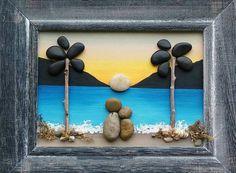 "Pebble Art, Rock Art, Pebble Art Couple, Rock Art Couple, palm trees, honeymoon, anniversary, vacation, ""open"" 8.5x11 frame (FREE SHIPPING)"